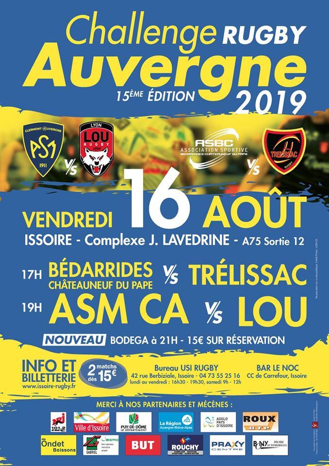 #ASM #ASMLOU 15e Challenge Auvergne à Issoire le vendredi 16 août avec @ASMOfficiel vs @LeLOURugby à 19 heures. A partir de 15 euros.