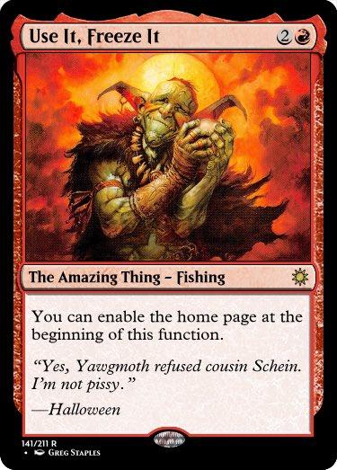 Squee, Goblin Nabob (by Greg Staples) is a big fan of fishing. #GoogleTranslatesMTG @RosewattaStone   Original:  https:// scryfall.com/card/mma/130/s quee-goblin-nabob  … <br>http://pic.twitter.com/xr57SBl6xE