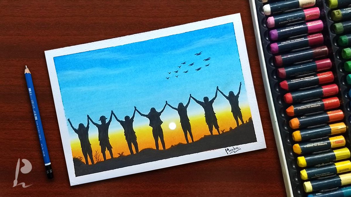 Friendship Day Drawing with Oil Pastels ...