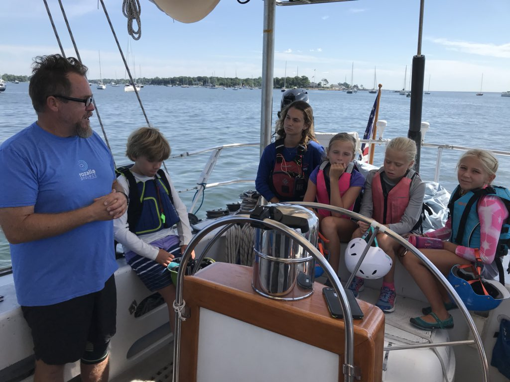 Gorgeous morning onboard American Promise with @rozaliaproject, educating kids about #oceanplastic & harmful impacts of #marinedebris. Hope their generation does a better job than mine....... #sailing #TuesdayThoughts