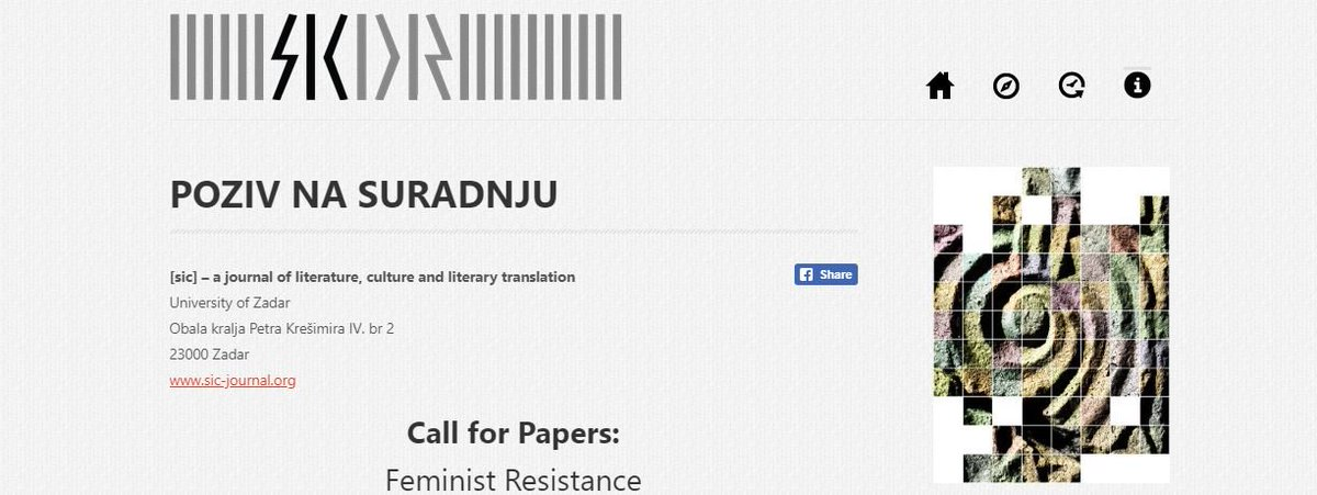 [sic] – a journal of literature, culture and literary translation, new CfP is now online! https://www.sic-journal.org/CallForPapers.aspx… #feminism #feministtheory #gender #resistance #culturalstudies