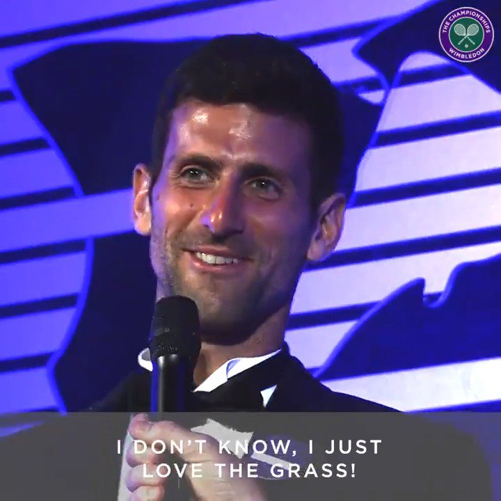 So @DjokerNole, why do you keep eating the #Wimbledon grass? 🌱😋