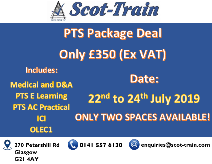 Scot-Train PTS Package Deal - 22nd to 24th July 2019 - Only 2 Spaces Remaining!  To book call Scot-Train today on 0141 557 6130   #swgr #scottrain #competencies #training #courses #skills #learning #glasgow #scotland #UK #pts #ici #ole1 #rail #railtraining #trackwork