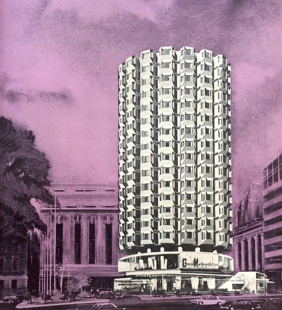 1970 perspectives for three Richard Seifert hotels.