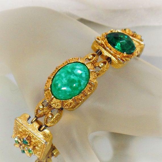 Peking Glass Bracelet. Rhinestone Bracelet. Green Stone Bracelet. #Vintage Bracelet. Bracelets for Women. #Jewelry for Brides. waalaa. #antique #shopping #jewellery #gifts #wedding #etsy http://jto.li/pjwRd
