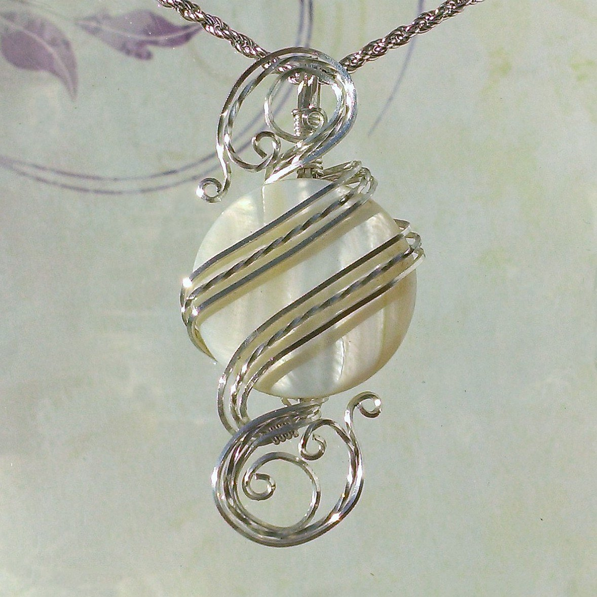 White Shell Womans Pendant Necklace Wire Wrapped Jewelry Handmade in Silver With Free Shipping https://etsy.me/2rKziix #jewelry #handmade #etsymntt #bohemian #etsy #fashion #handmadejewelry #etsygifts