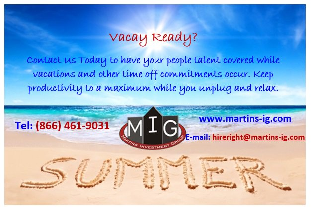 #vacation ready? We are here for you! #martinsinvestmentgroup #MIGRecruit #hireright #temporarystaffing #directhire #recruitment #vacationmode