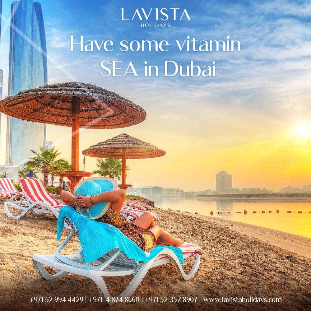 Have some vitamin SEA in Dubai ⛱🍹  #LavistaHolidays #sea #travel #summer #holidays #dubai