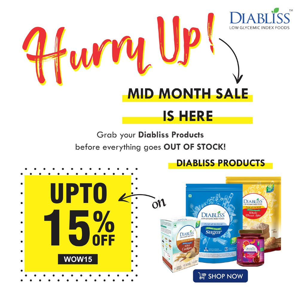 Mid-Month Sale is on - 15% discount on our wide range of diabetic-friendly products. visit our shop - https://diabliss.in/shop/  #diabliss #DiablissSugar #diablisscombo #diablissfriendly #lowGIfoods #herbal #product #reduceweight & healthy good for #diabetes   #Coupon Code : #WOW15