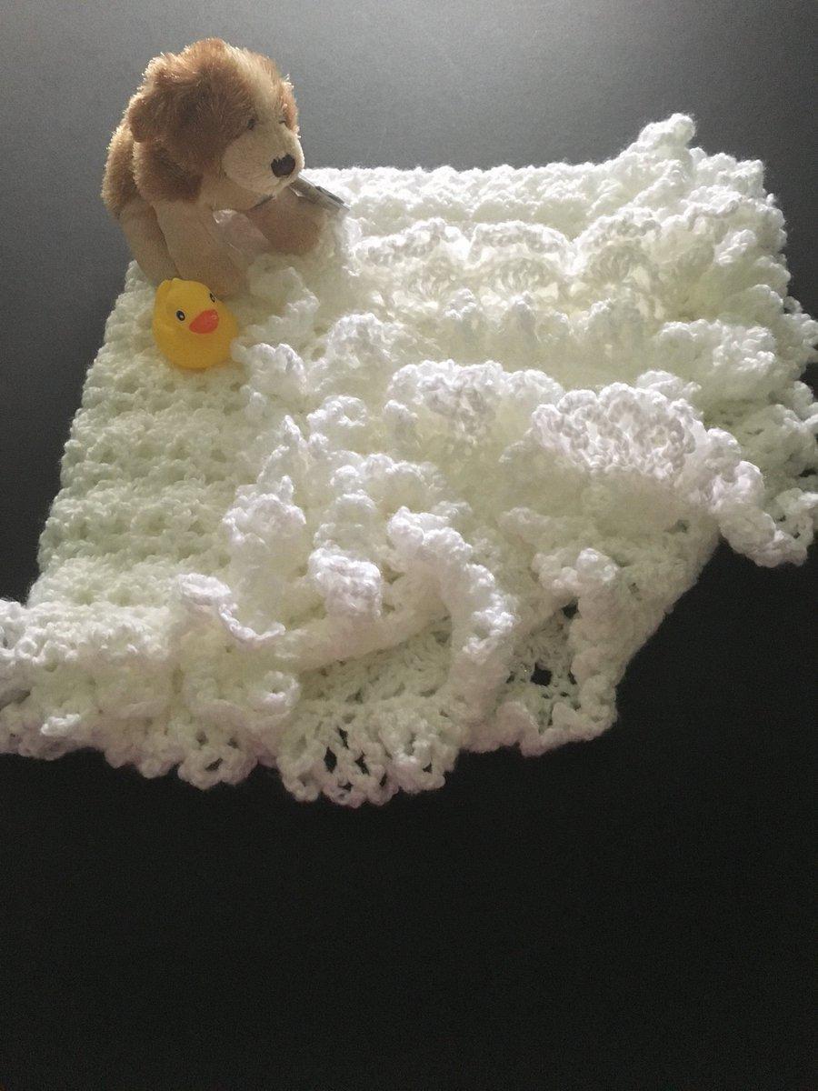 http://ChestnutCrochetShop.etsy.com Excited to share this from my #etsy shop: Crocheted Baby Blanket, White Christening Blanket, Baptism Blanket, Crib Blanket, Baby Shower Gift, Baby Photo Prop https://etsy.me/2k4byqf #housewares #babyblanket #white #babyshower