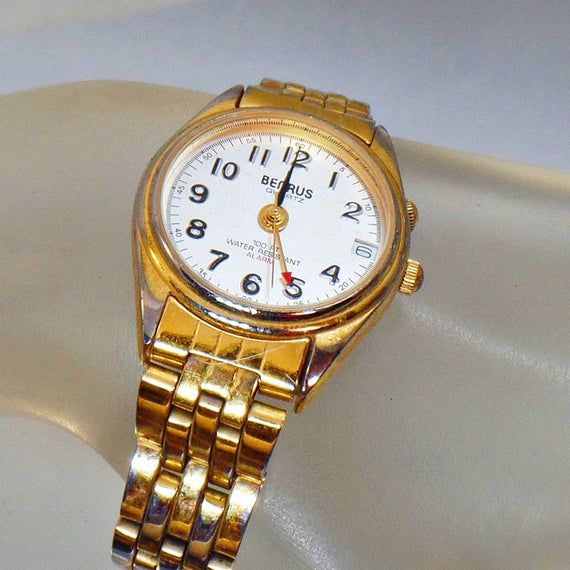 Ladies Watch. Benrus Gold Watch. Water Resistant Watch. Alarm Watch. Quartz Watch. #Jewelry for Women. Watches for Women.  waalaa. #vintage #antique #shopping #jewellery #gifts #wedding #etsy