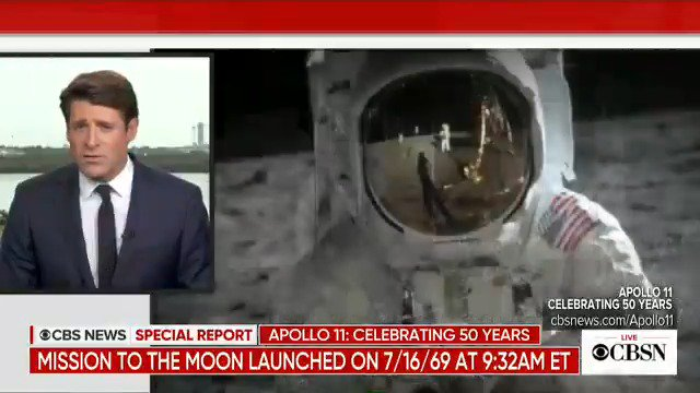 On July 16th, 1969 at 9:32 a.m. ET, a #SaturnV rocket blasted off for the moon, becoming a defining moment for the country, and one of the greatest moments in broadcast history. @tonydokoupil is at @NASAKennedy to mark the exact moment #Apollo11 blasted off 50 years ago 🚀