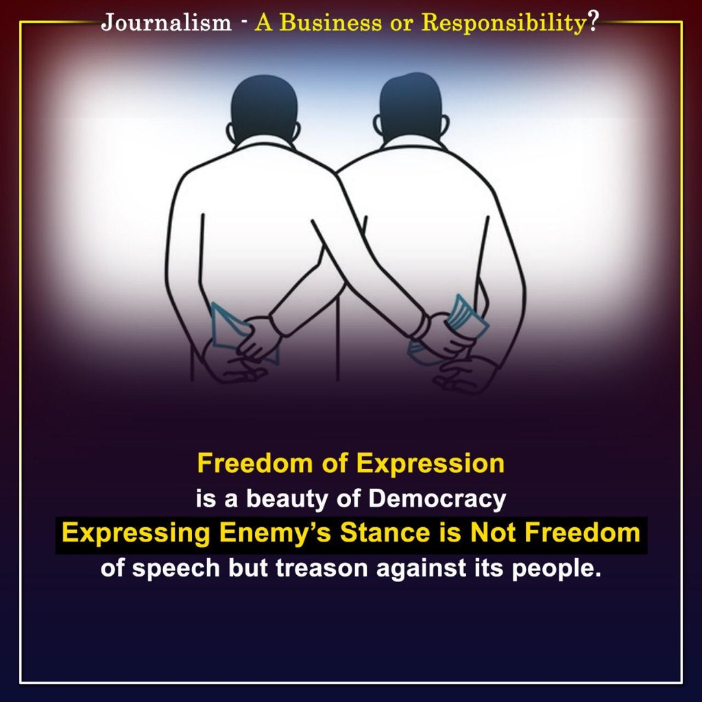 Media houses & journalists must take care that in their quest for criticism on State, they intentionally or unintentionally do not end up propagating enemy's stance. Freedom of expression is immense power. And with great power there is great responsibility! #JournalismNotAgenda