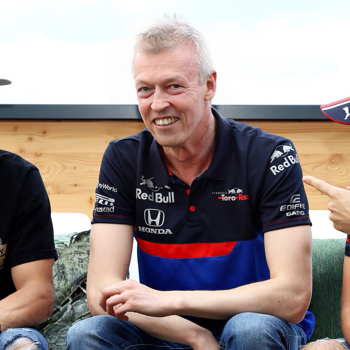 The nervous smile, the itchy arm, the grey hair, the pure terror of it all: @kvyatofficial should never have agreed to let Franz drive him for some Hot Laps around Silverstone.⁣ #ToroRosso #FaceApp