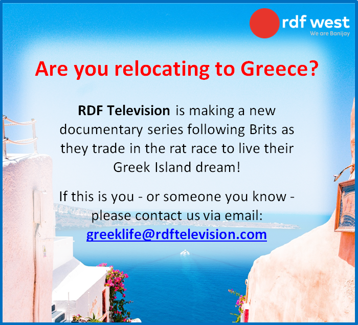 @OfficialCastMe RDF Television are looking for people who are moving (or have moved) to #Greece! Email the team on: greeklife@rdftelevision.com for more info!