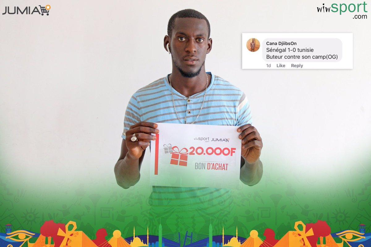 Pronostic 🇸🇳-🇹🇳   Bravo à CanaDjiibson (sur Facebook), qui remporte 2 bons d'achat de 10.000FCFA!  Merci à notre partenaire @JumiaSN.  #SunuCAN #CAN2019