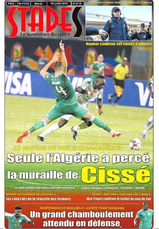 Le quotidien #Stades : Une du mardi 16 juillet 2019...  #Senegal #Team221 #AFCON2019 #SENALG