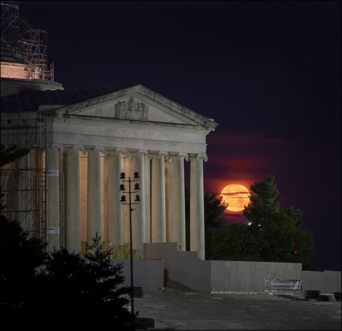 The Moon sets behind the Jefferson Memorial in Washington 50 years to the day after astronauts Neil Armstrong, Michael Collins, and Buzz Aldrin launched on Apollo 11, the first mission to land astronauts on the Moon. #Apollo50th - flic.kr/p/2gA21u8