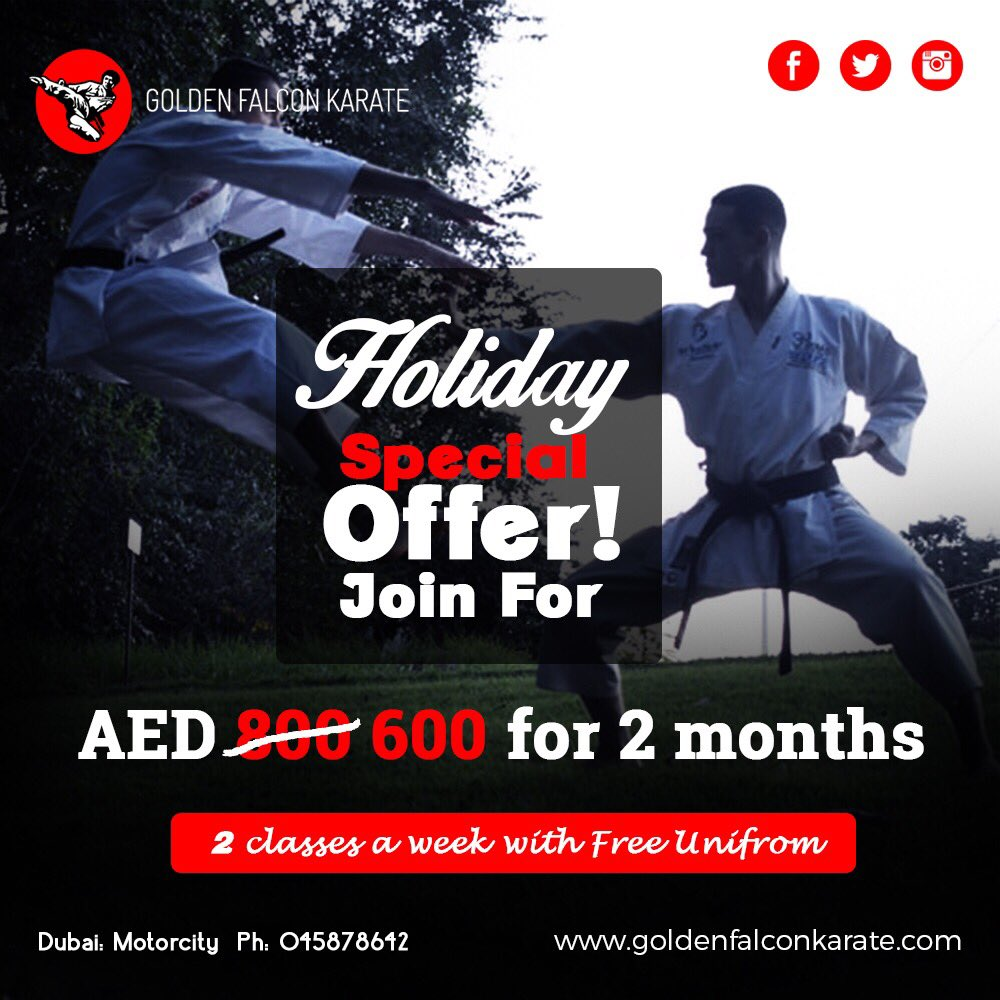 Ultimate offer to join our classes for AED 600 for two months.  ☎️Contact us: +971 501695115 . . #karate #karateUAE #summercamp #goldenfalconkarate #martialarts #martialartsdubai #karama #karatedubai #karatesharjah #goldenfalcon #motorcity #jlt #karateclass #dubai #uae