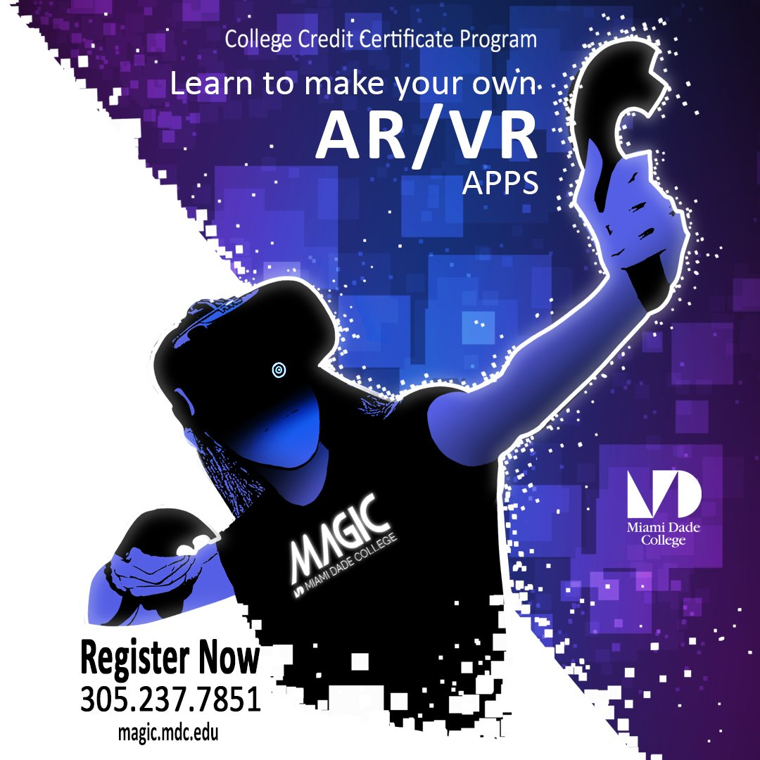 Learn to make your own AR & VR Apps @MAGIC_MDC  Register Now: http://www.mdc.edu/virtualreality/ #neverstoplearning #VR #AR #videogame #apps #indiedev #Miami #mdc #student