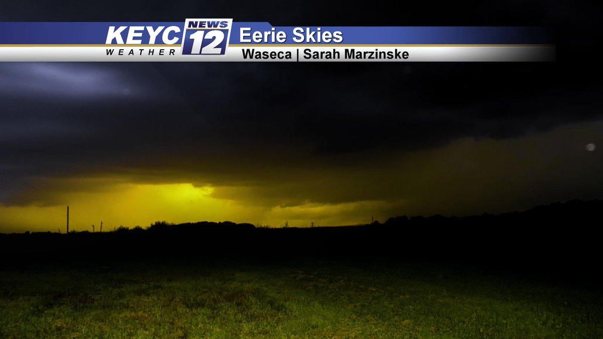 Ominous skies with shades of green coming from the clouds as strong thunderstorms moved through Waseca last night.  📷: Sarah Marzinske #MNwx #sunset