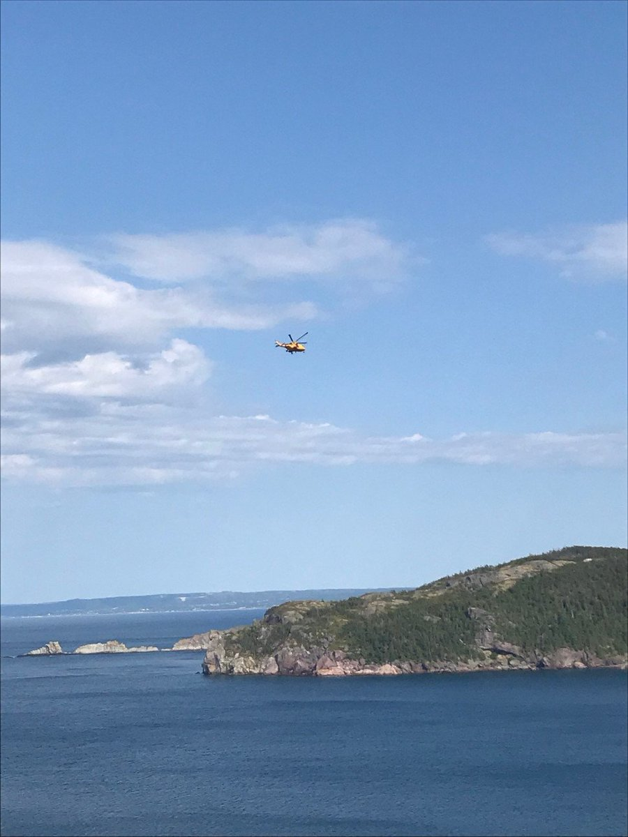 Proud to see the #Cormorant in action, assisting in a #SAR mission near Brigus Lighthouse! #SAR #LeonardoinCanada   via @rcmpgrcpolice rcmp-grc.gc.ca/en/news/2019/b… (Photo credit: @rcmpgrcpolice)