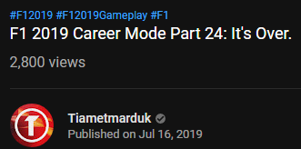 It's been a roller coaster of a day #F12019