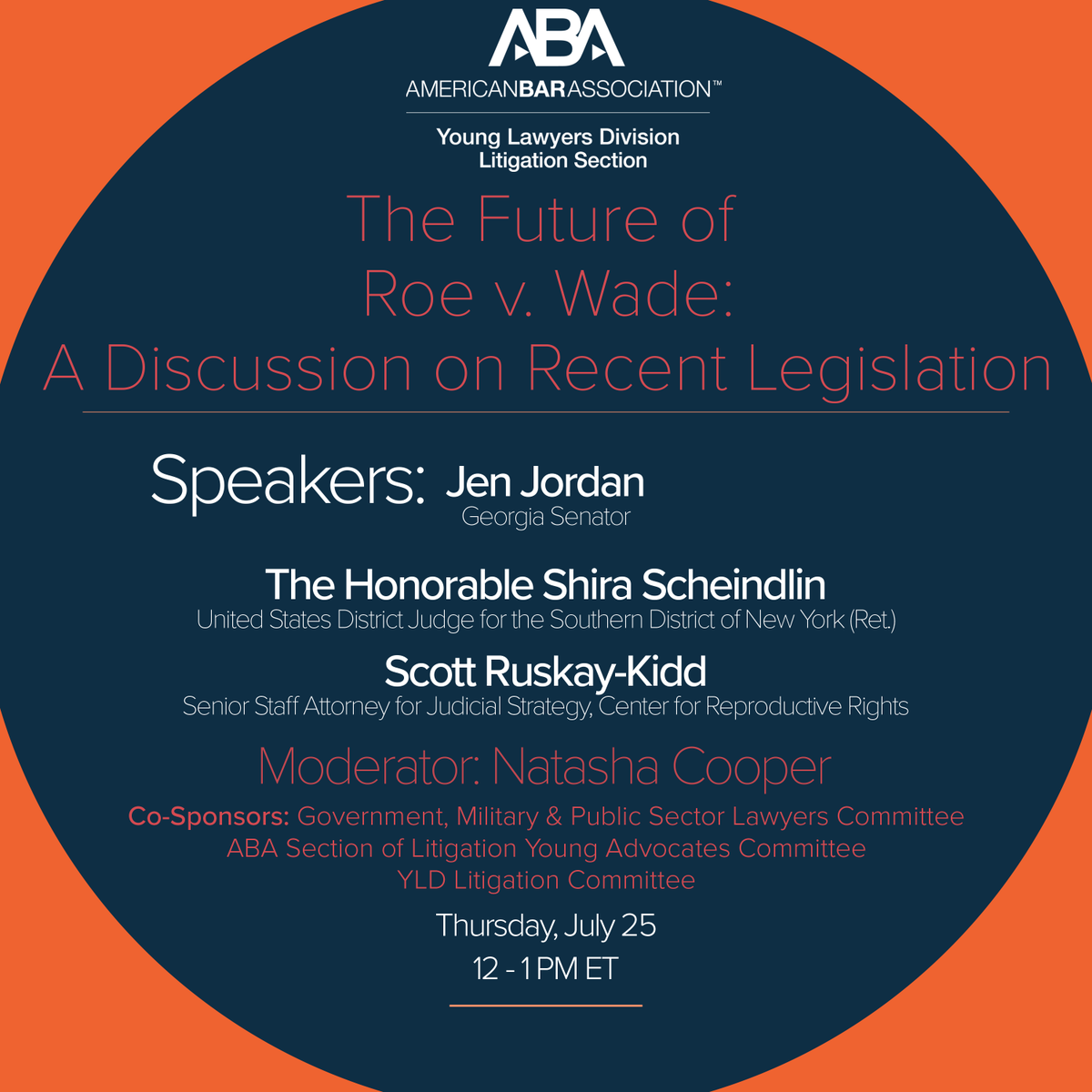 The Future of Roe v. Wade: A Discussion on Recent Legislation. July 25, 12 pm. #webinar #RoevWade   Register:  https://www. americanbar.org/groups/young_l awyers/events_cle/webinar_replay/future-of-roe-v-wade-discussion-on-recent-legislation/  … <br>http://pic.twitter.com/wOtbSm2MQ1