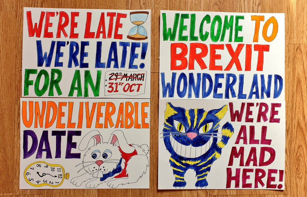 Working on #BrexitWonderland placards for our BREXIT WONDERLAND PARADE at the @march_change on Saturday! 🤩 WERE ALL MAD HERE! 🐇🍰🥛🌻🌺🐛📚🦔🍄 #Brexit See if you can spot us: facebook.com/events/1681842…