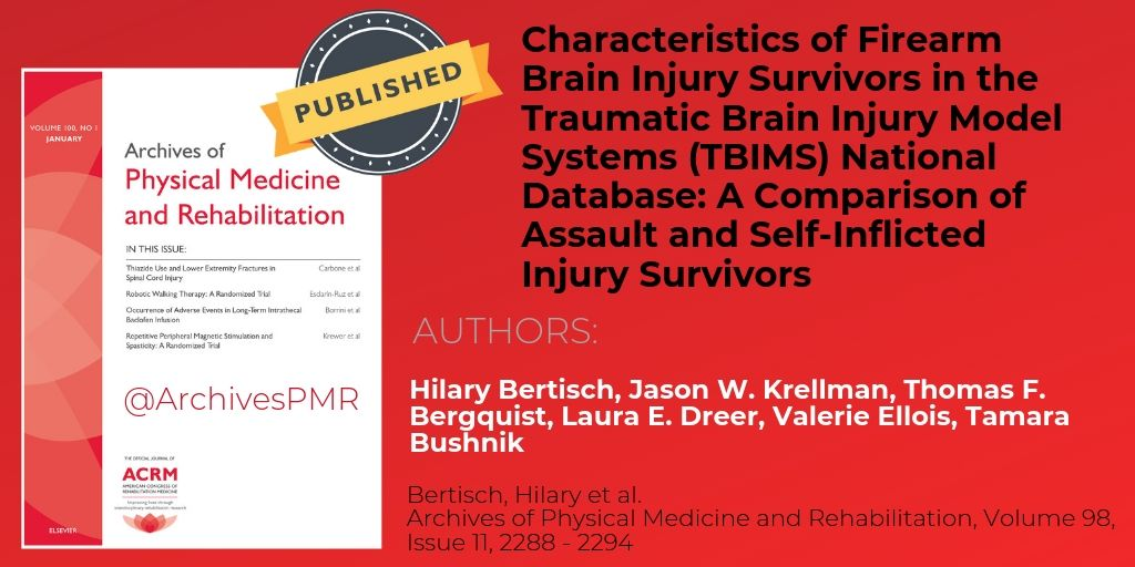 Characteristics of #Firearm Brain Injury Survivors in the Traumatic Brain Injury Model Systems (@TBI_MS) National  Database: A Comparison of Assault and Self-Inflicted Injury Survivors from #RuskRehab @nyulangone  http:// bit.ly/2Gfz4s3     #suicide #gunviolence #TBI #braininjury <br>http://pic.twitter.com/C3BmH66Tns