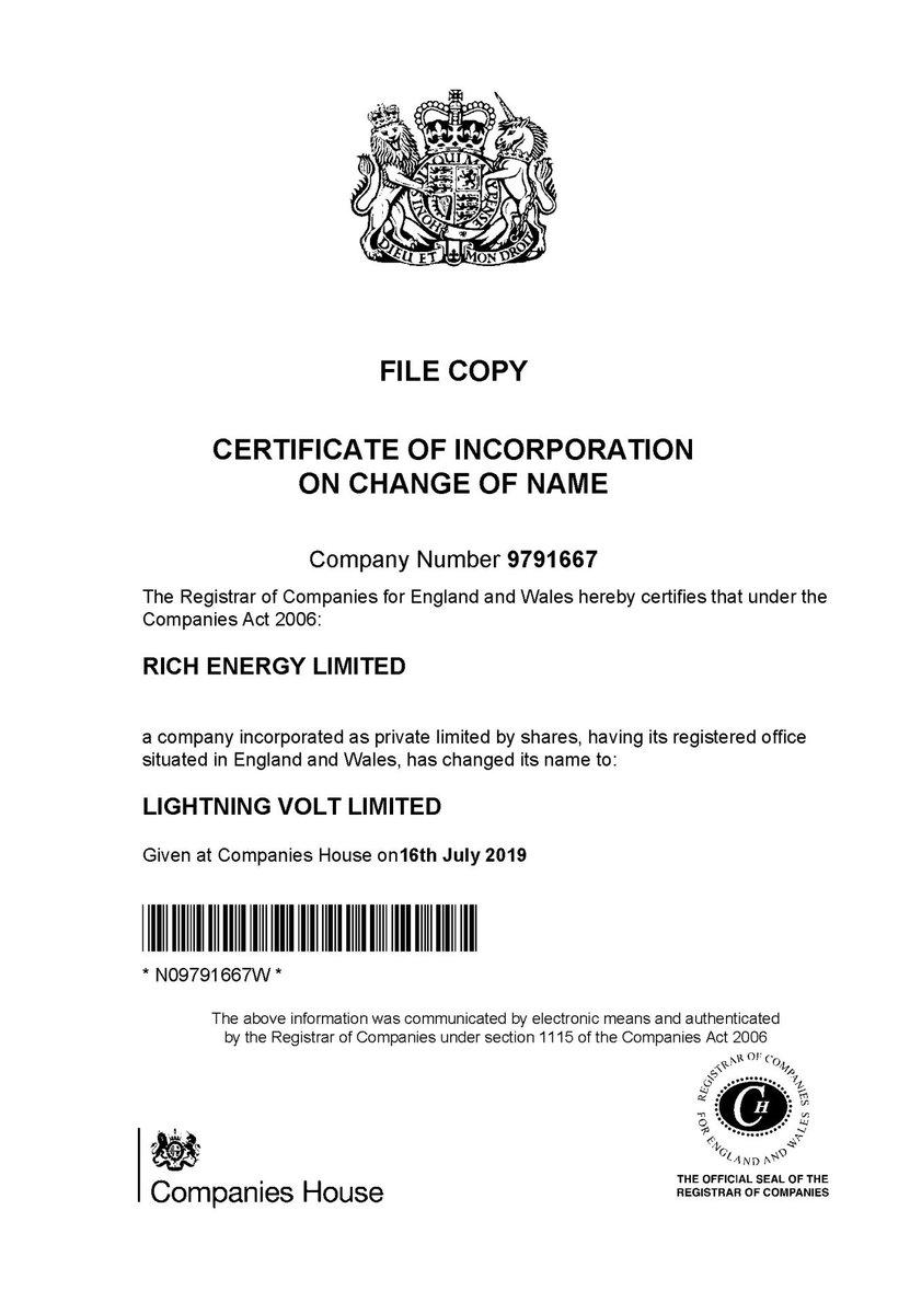 WORLD EXCLUSIVE here for Twitter • Rich Energy renamed Lightning Volt • Matthew Kell new controlling shareholder • William Storey no longer controlling shareholder • William Storey no longer director