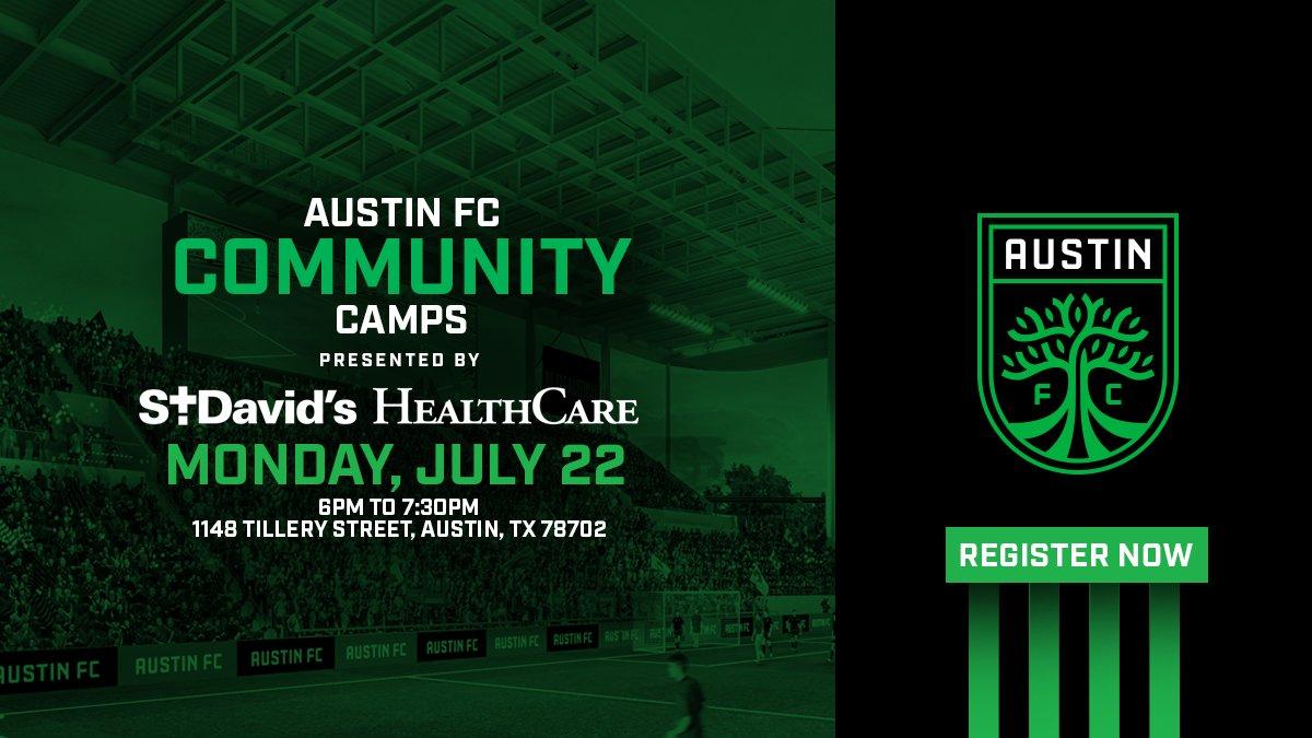 Are you ready for Austin FC @StDavidsHC Community Camp 2⃣?  Register now at: https://austinfc.com/camps   ⚽️🤝⚽️                  Ya está abierta la inscripción para el segundo taller comunitario de #AustinFC y St. David's Health Care.  Regístrate ahora en: https://austinfc.com/camps?locale=es