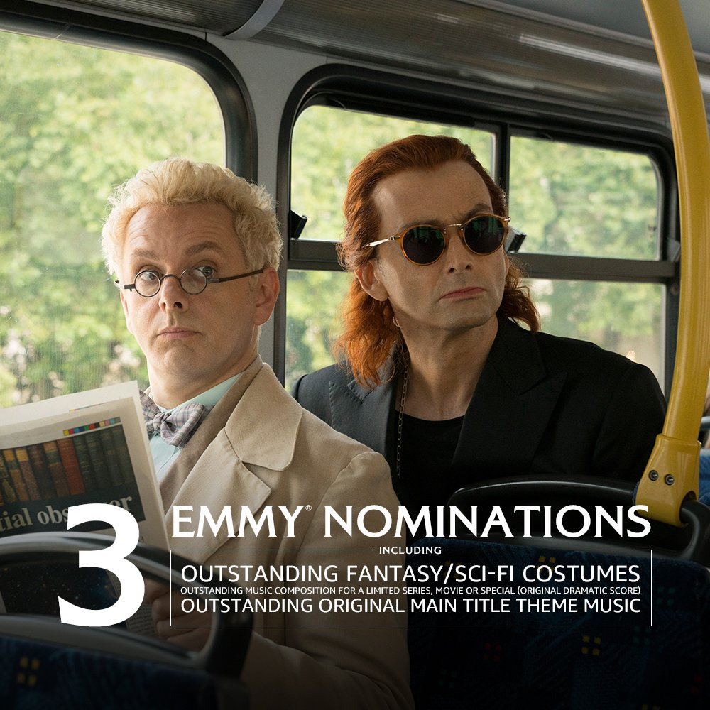 6,000 years of friendship, a few prophecies, and Armageddon have all led to this. Congratulations to the cast and crew of #GoodOmens  for receiving 3 #Emmys nominations!<br>http://pic.twitter.com/i8YIGnr9kQ