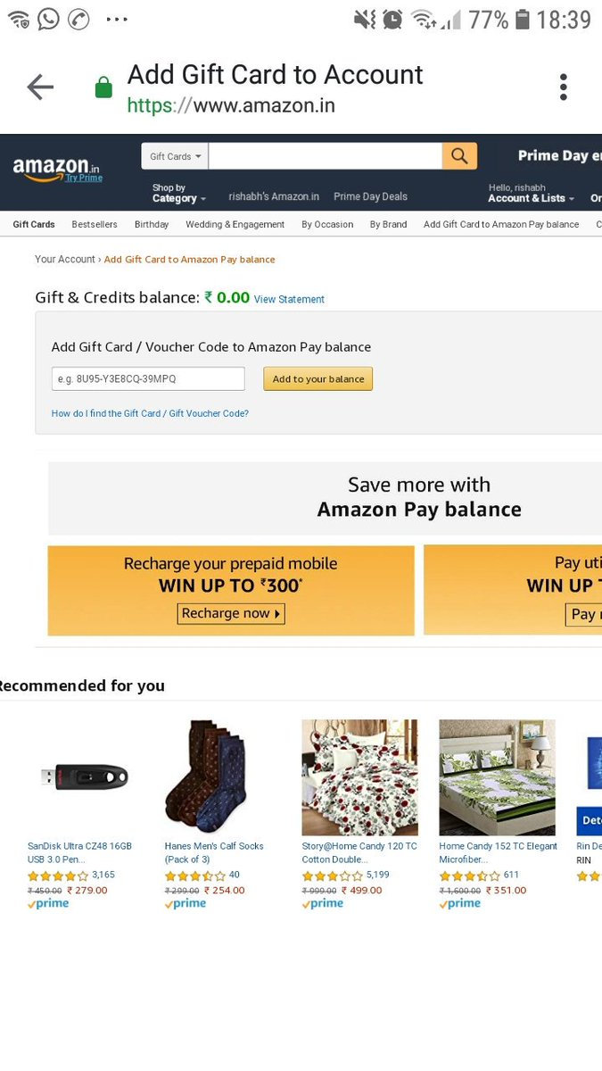 Rishabh Agarwal On Twitter Amazon Pay Gift Card Gc Id 6014851829442331 Worth Rs 100 000000 Added To Your Amazon Pay Balance Is About To Expire On 15 08 2019 23 59 59 Https T Co Ujymeupcsb