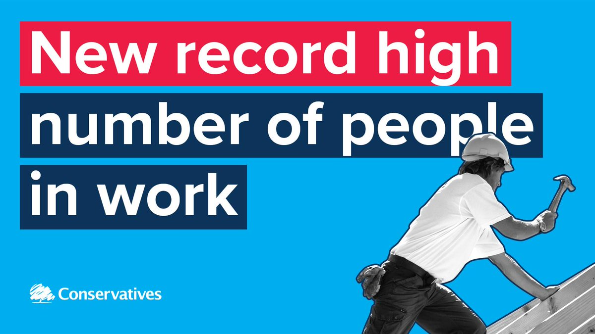 A record number of people in the UK are in work with the @Conservatives in power. Versus unemployment has increased under every Labour government.