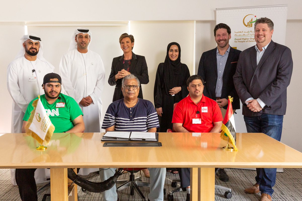 Zayed Higher Organization for People of Determination (ZHO) has signed an agreement with @CNN Abu Dhabi to provide technical training and experience for two people of determination. Two ZHO students, Ahmed Al Darmaki and Saleh Al Jilani, will take part in the program, #CNN