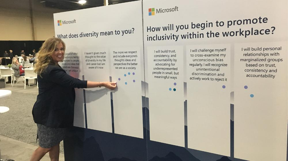 We want to find out what diversity and inclusion mean to you! Put a sticker on our board in the U.S. Lounge and let us know. #MSInspire