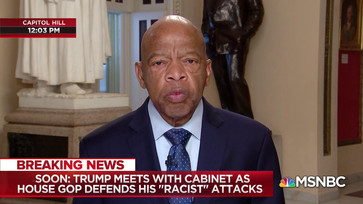Civil Rights leader Rep. John Lewis on President Trumps racist tweets: What he said, and what he continues to say, is racist. It is racism. You cannot hide it. You cannot sweep it under the American rug. on.msnbc.com/30DqWcO