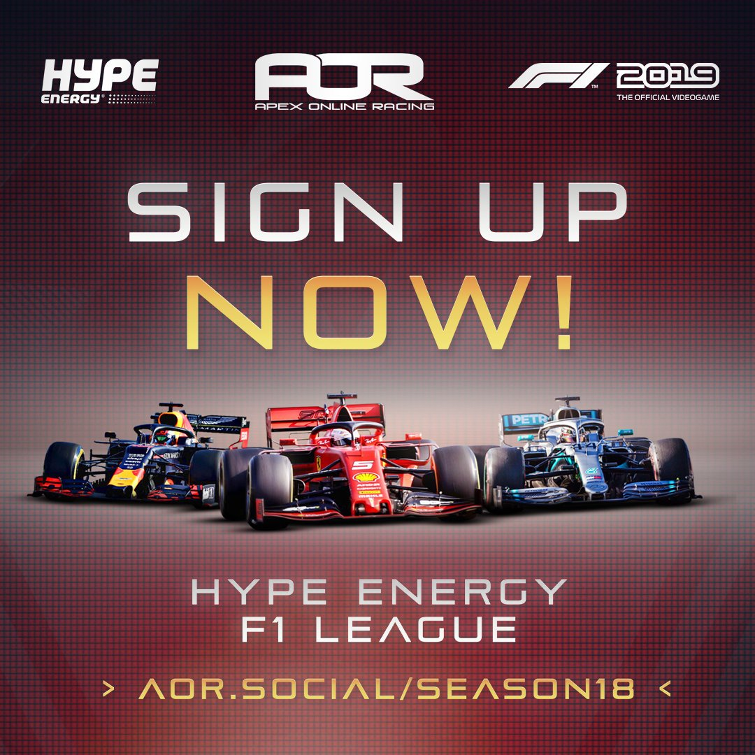 🚨 #AORHYPE IS BACK! 📢  Sing ups are now OPEN for season 18 of the AOR @hypeenergy F1 Leagues 🏆  Want to know how you can get involved? Just follow the links below! 👇  📝 Sign up: http://aor.social/SEASON18 📖 Rules: http://aor.social/RLS-S18 📅 Calendar: http://aor.social/CLD-S18