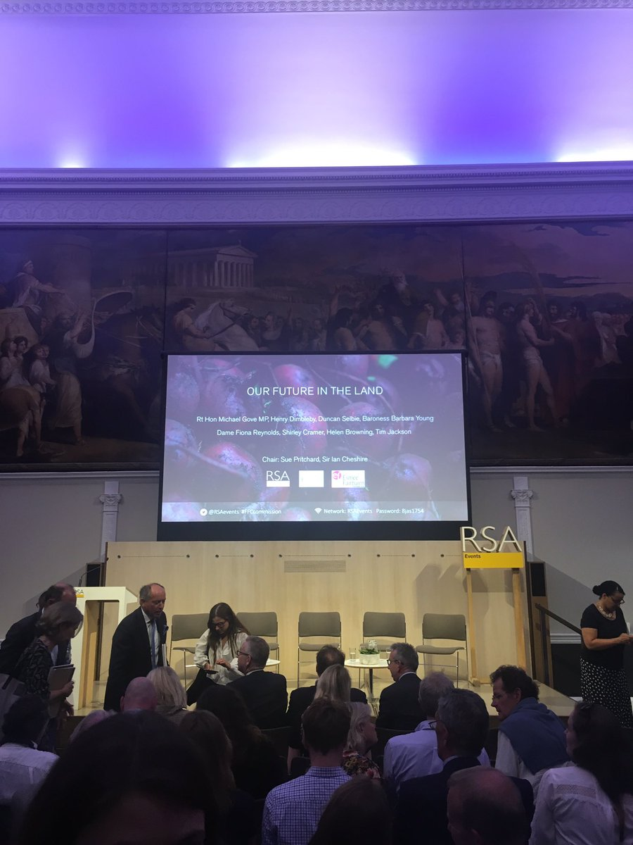 Good evening Twitterers. I'll be live tweeting this evening's @FFC_Commission report launch - Our Future in the Land. If you're not at the event do send in your questions and I'll try and put them to the panel in the Q&A @RSAEvents #FFCcommission