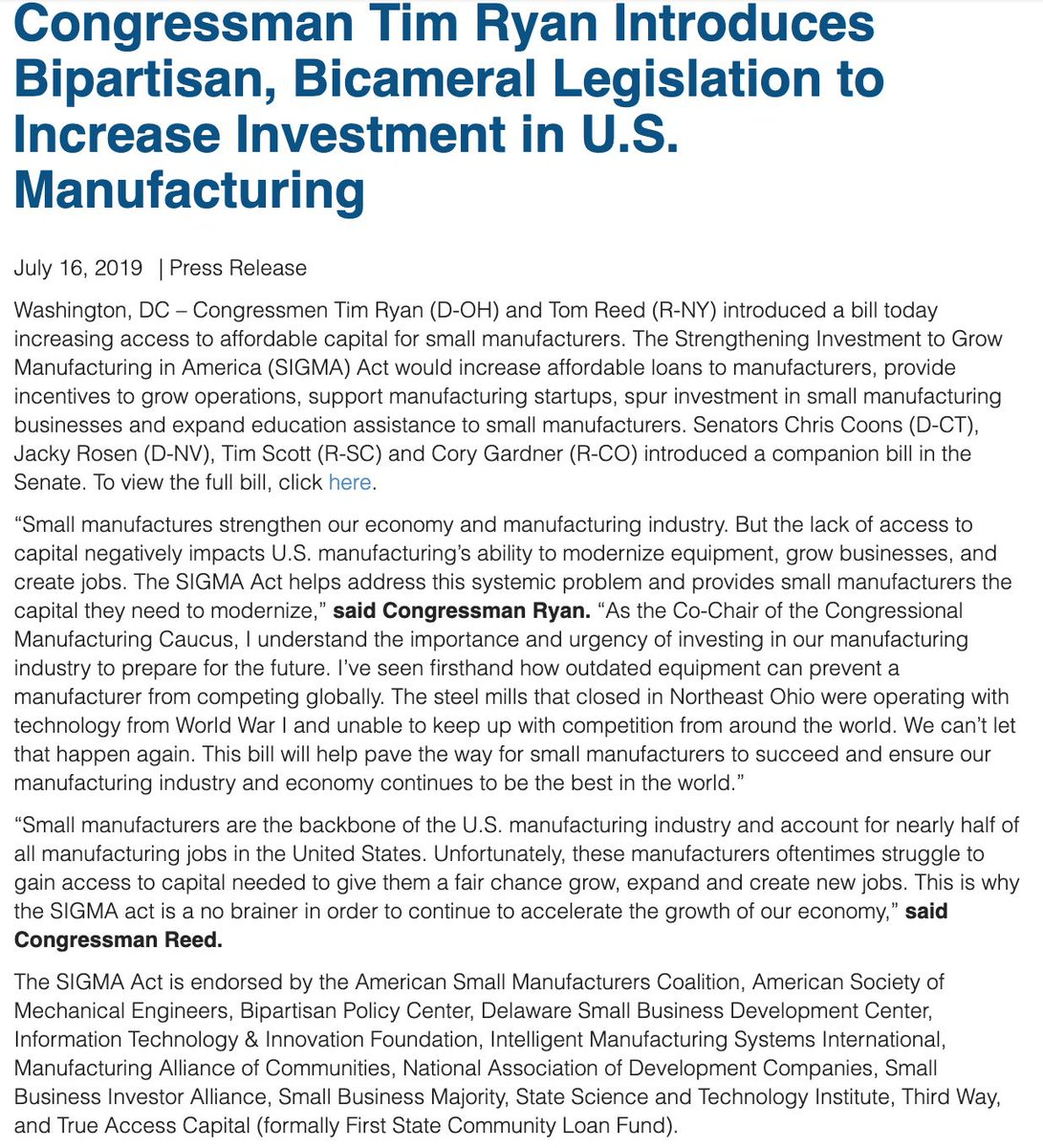 The lack of access to capital negatively impacts US manufacturing's ability to modernize equipment, grow businesses & create jobs. I'm proud to introduce the SIGMA Act with @RepTomReed to help address this  problem & provide small manufacturers the capital they need to modernize.