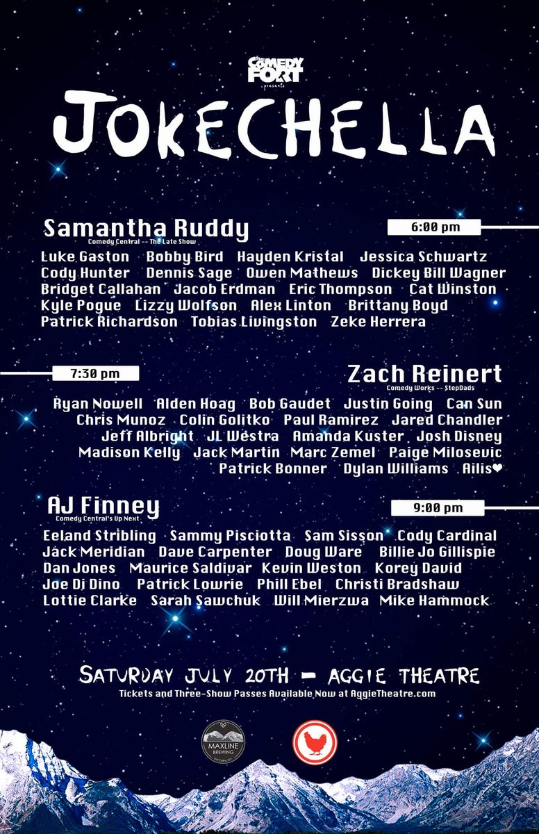 Check out this show in Ft. Collins this Saturday!!! JokeChella is an amazing showcase featuring dozens of comedians from all over Colorado! I'll be doing a 90sec set in the 7:30 show!