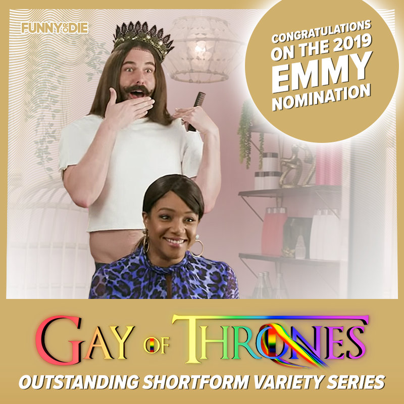 Congratulations to the amazing @jvn and @gibblertron on the Emmy nomination for 'Gay Of Thrones'!