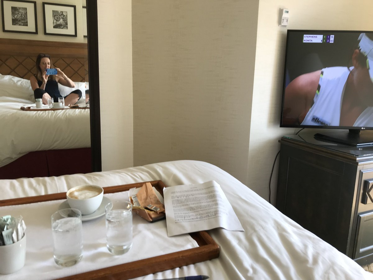 """COUNTDOWN TO #TED 2019! T minus 5 days Preparing to give my #TED talk on """"The Longing"""" (Sunday, July 21)! Just finished writing it. Here I am in a family hotel room last wkend, w latte & Wimbledon on hand, trying to learn it. Is there anything u'd like to know about this process? <br>http://pic.twitter.com/67uEqDNkoI"""