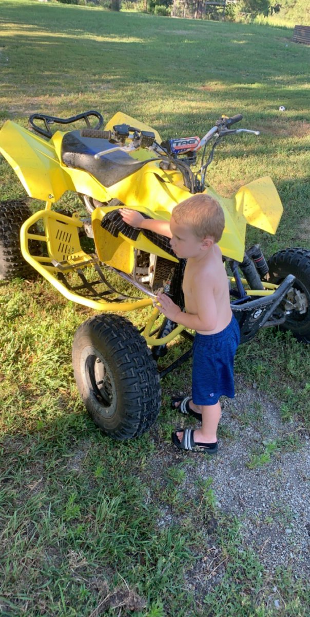 Reed helped me wash the quad yesterday, gettin ready to ride Wednesday, hoping for a good practice session. #SendIt