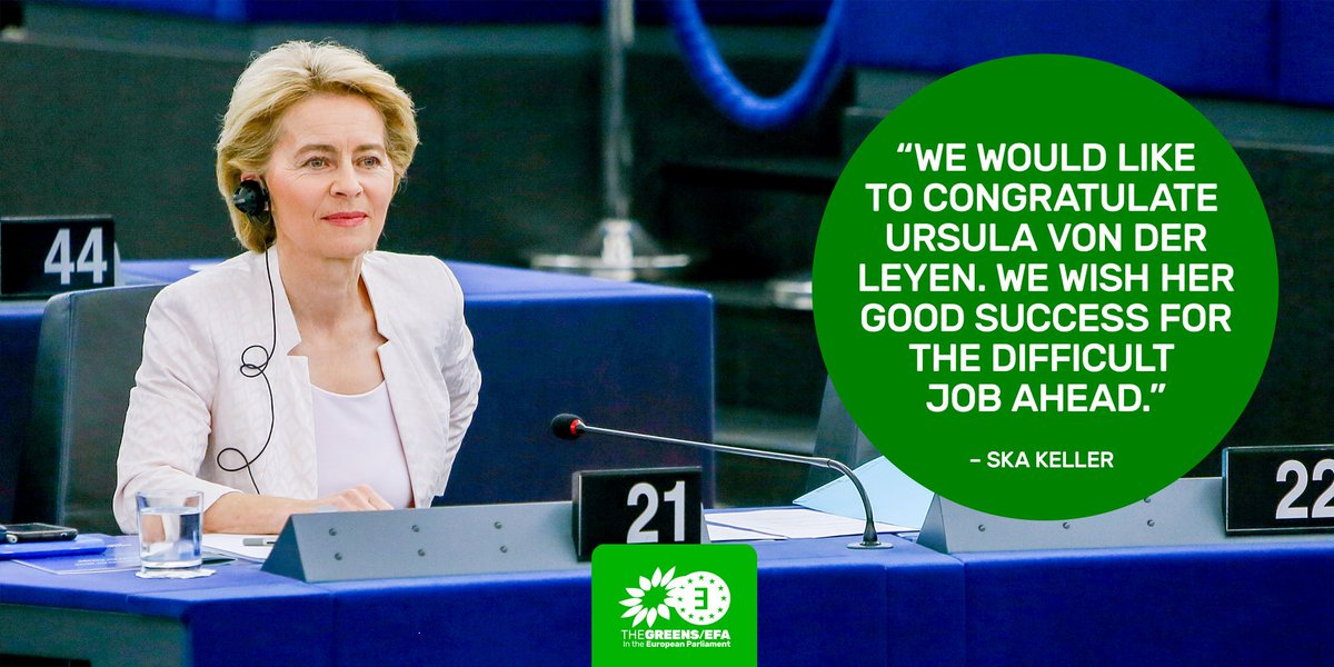 Today the #EuropeanParliament voted in favour of @vonderleyen for President of the European Commission. The @GreensEFA group voted against von der Leyen. Read the full press release 👉🏻 bit.ly/2GepQwm