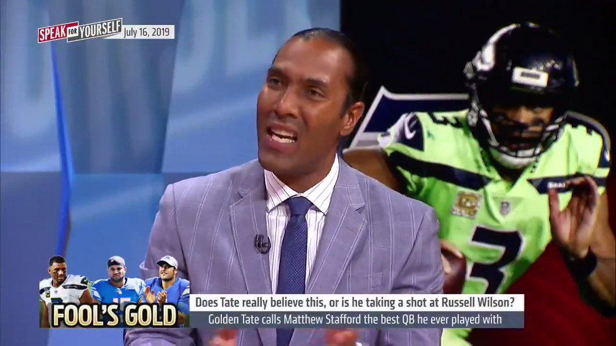 Golden Tate calls Matthew Stafford the best QB he ever played with. Is this a shot at Russell Wilson? Yeah he's taking a shot for sure but he's also telling the truth… Matthew Stafford is a better thrower of the ball than Russell Wilson is. —TJ Houshmandzadeh