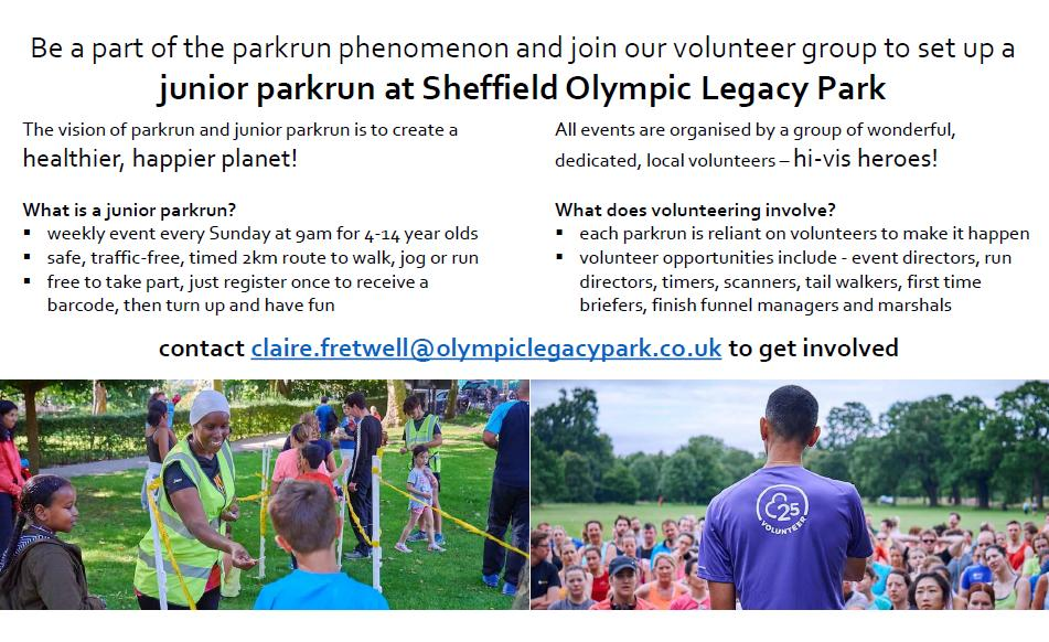 Sheffield Olympic Legacy Park On Twitter Want To Join Us In Creating A Healthier Happier Planet Then Sign Up To Be A Volunteer For Our Juniorparkrun At Sheffieldolympiclegacypark Lots Of Roles Available