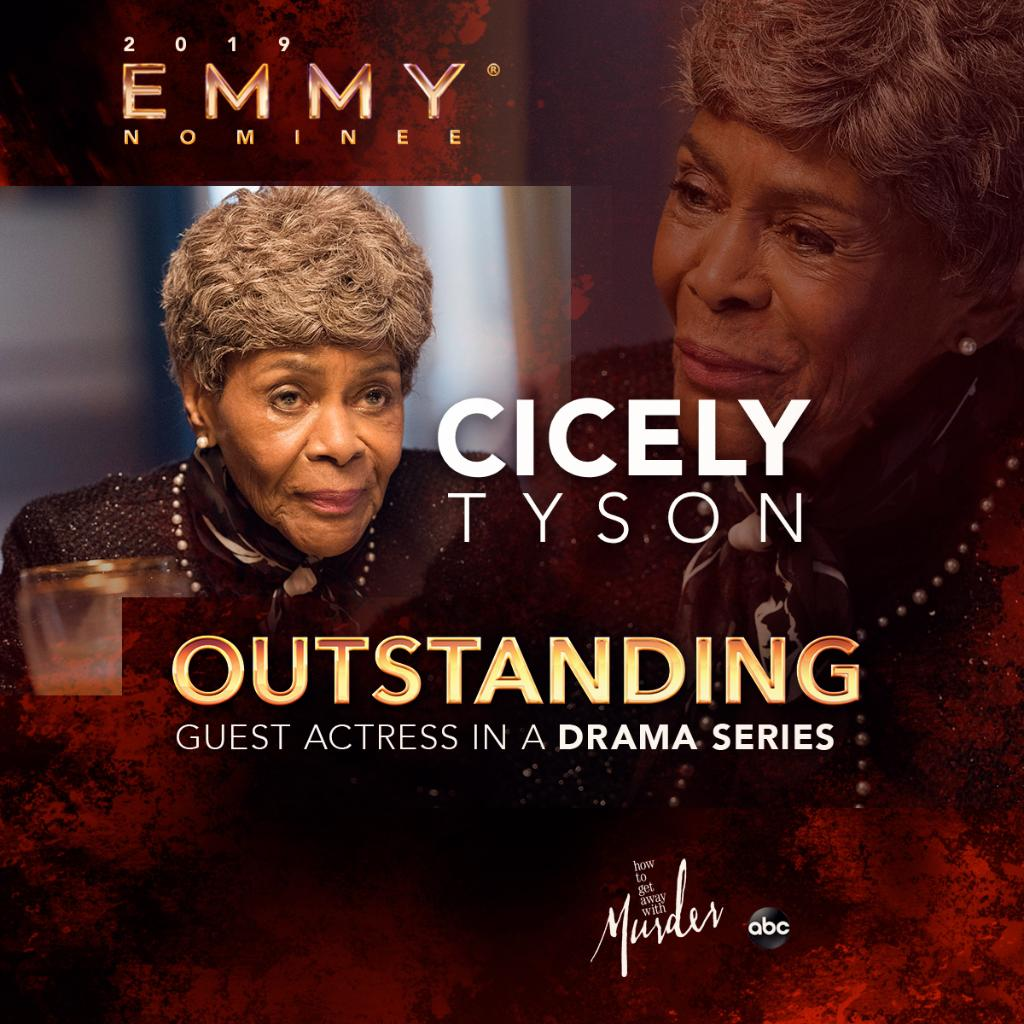 Congratulations to @IAmCicelyTyson for her #Emmy nomination for Guest Actress in a Drama Series!!! #HTGAWM https://t.co/sQElpZQmxw