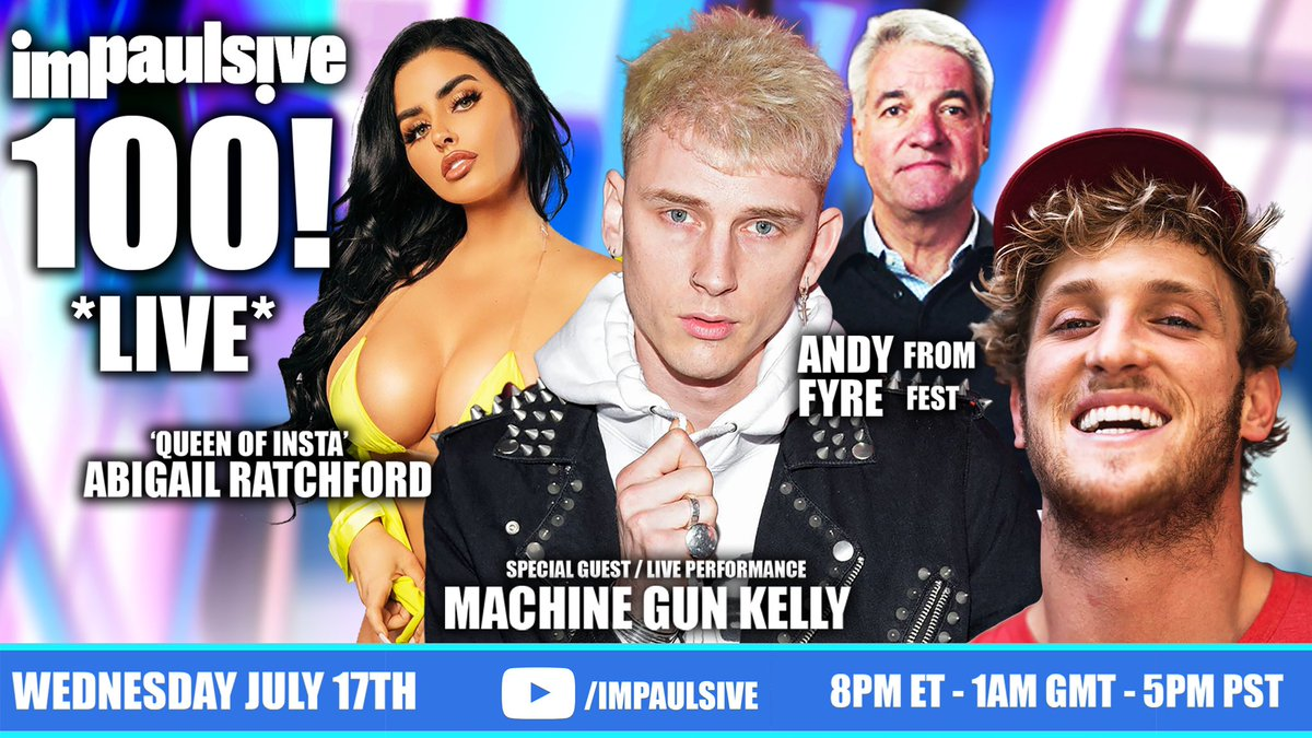 This is gonna be crazy lol... TOMORROW, our 100th episode of IMPAULSIVE is going to be LIVE 🔥 A 3 hour mega show featuring @AbiRatchford, @RealAndyKing, & @MachineGunKelly ... 5p PST, 8p PST. SEE YOU THERE